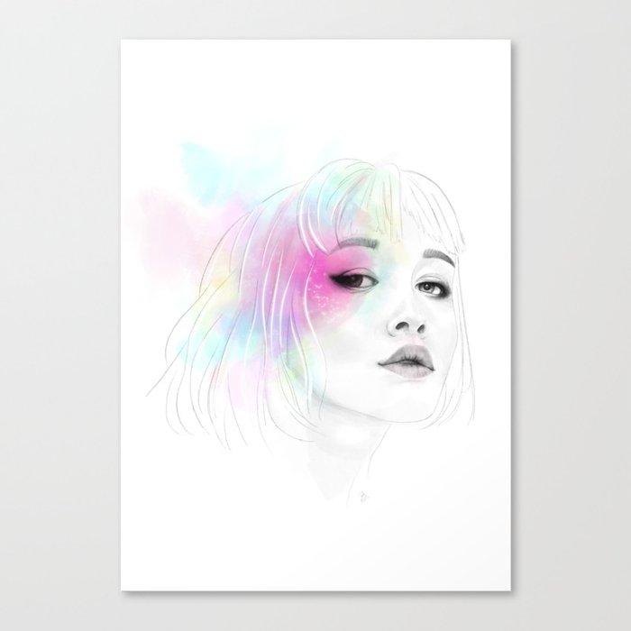 Pastel glowing Girl digital portrait Canvas Print