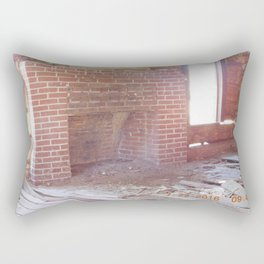 road trip, old cabin interior, fire place Rectangular Pillow