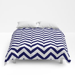 Simple Chevron Pattern - Blue & White - Mix & Match with Simplicity of life Comforters