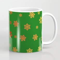 Snowflakes (Red & Gold on Green) Mug