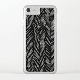 Herringbone Cream on Black Clear iPhone Case