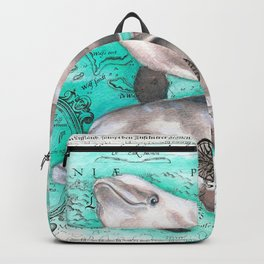 Dolphin Pod Ancient Map Backpack