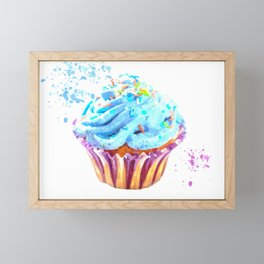 Cupcake watercolor illustration Framed Mini Art Print