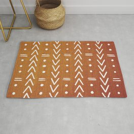 Mudcloth White Geometric Shapes in Ochre Burnt Orange Rug