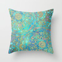 metal Throw Pillows featuring Sapphire & Jade Stained Glass Mandalas by micklyn