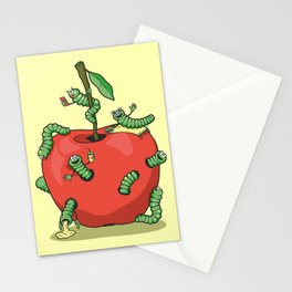 Funny worms in the apple  Stationery Cards