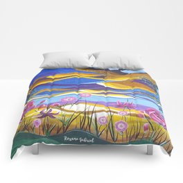 Pretty in Pink, Pink floral landscape, Abstract Landscape Comforters