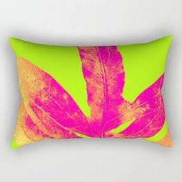 Green and Ultra Bright Coral Fern Rectangular Pillow