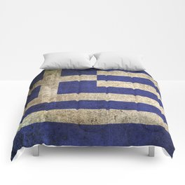 Old and Worn Distressed Vintage Flag of Greece Comforters