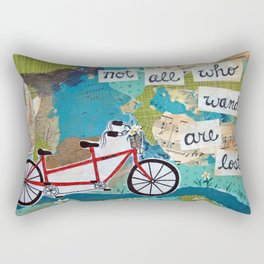 Not all who Wander are Lost - Red Tandem Bicycle Rectangular Pillow