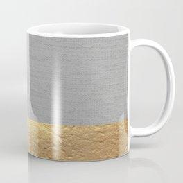 Color Blocked Gold & Grey Coffee Mug