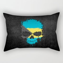 Flag of Bahamas on a Chaotic Splatter Skull Rectangular Pillow