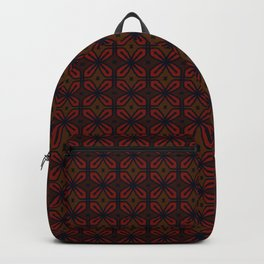 Retro Mahogany Red Wine Floral Tiles Backpack
