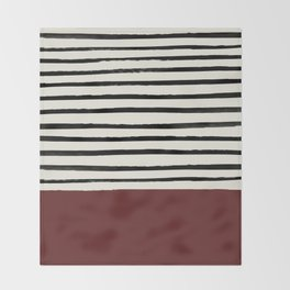 Dark Ruby & Stripes Throw Blanket
