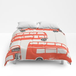 London Double Decker Red Bus Comforters