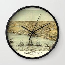 Bird's Eye View of Saint Clair, Michigan (1868) Wall Clock