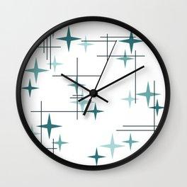 Mid Century Modern Stars (Teal) Wall Clock