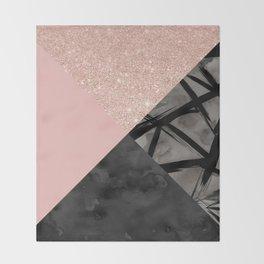 Modern pastel pink black strokes watercolor color block Throw Blanket