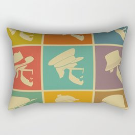 colorful Icons man in a headdress hat Rectangular Pillow