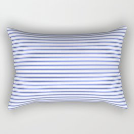 Small Horizontal Cobalt Blue and White French Mattress Ticking Stripes Rectangular Pillow