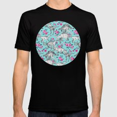 Dinosaurs and Roses - turquoise blue Mens Fitted Tee MEDIUM Black