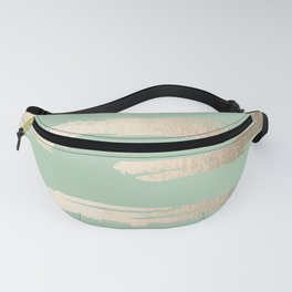 Simply Brushed Stripe White Gold Sands on Pastel Cactus Green Fanny Pack