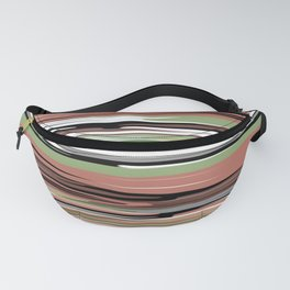 Abstract stripes in brown olive Fanny Pack