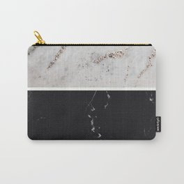 White Glitter Marble & Black Marble #1 #decor #art #society6 Carry-All Pouch