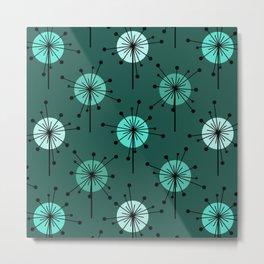 Atomic Era Sputnik Starburst Flowers Teal Metal Print