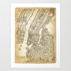 map of new york 1800s Art Print