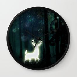 Dark Green Forest with Glowing Reindeer and Shimmering Lights Wall Clock
