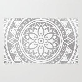 Silver & White Patterned Flower Mandala Rug