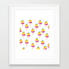 Colorful water color Ice Cream cone illustration pattern Framed Art Print