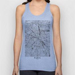 Paris White Map Unisex Tank Top