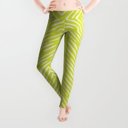 Chartreuse hand drawn pattern Leggings