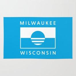 Milwaukee Wisconsin - Cyan - People's Flag of Milwaukee Rug