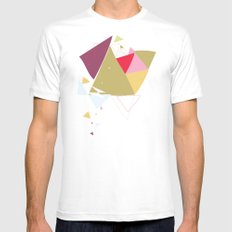 Exploding Triangles//Four MEDIUM Mens Fitted Tee White
