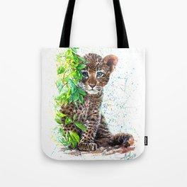 Little Leopard watercolor Tote Bag