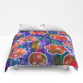 Flower Circles Red Pattern Comforters