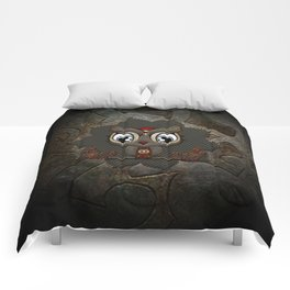 Cute little steampunk owl with floral elements Comforters