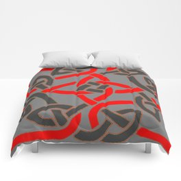 Red Pattern Charcoal Grey Color Celtic Art Comforters
