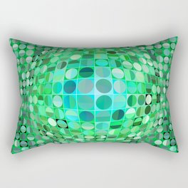 Optical Illusion Sphere - Green Rectangular Pillow