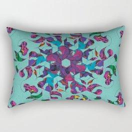 3 Swirl Wallpaper - Teal Rectangular Pillow