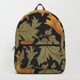 William Morris Yellow Flowers and Laurel Floral Textile Pattern Backpack