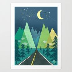 The Long Road at Night Art Print