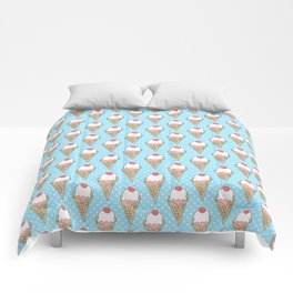 Doodle ice cream pattern on a blue background Comforters