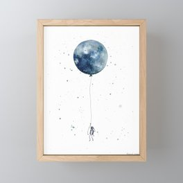Astronaut Flying High on Moon Balloon Framed Mini Art Print