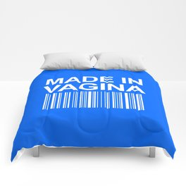 MADE IN VAGINA BABY FUNNY BARCODE (Baby Boy Blue) Comforters