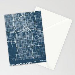 Oklahoma City Blueprint Street Map, Oklahoma City Colour Map Prints Stationery Cards