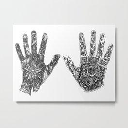 Hands of Contrast Metal Print